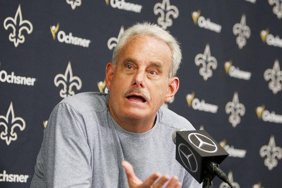 Saints interim head coach Joe Vitt meeting with the media.