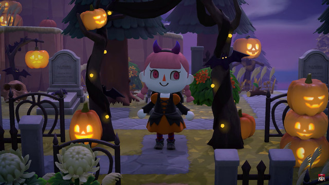 Animal Crossing character in a pumpkin graveyard