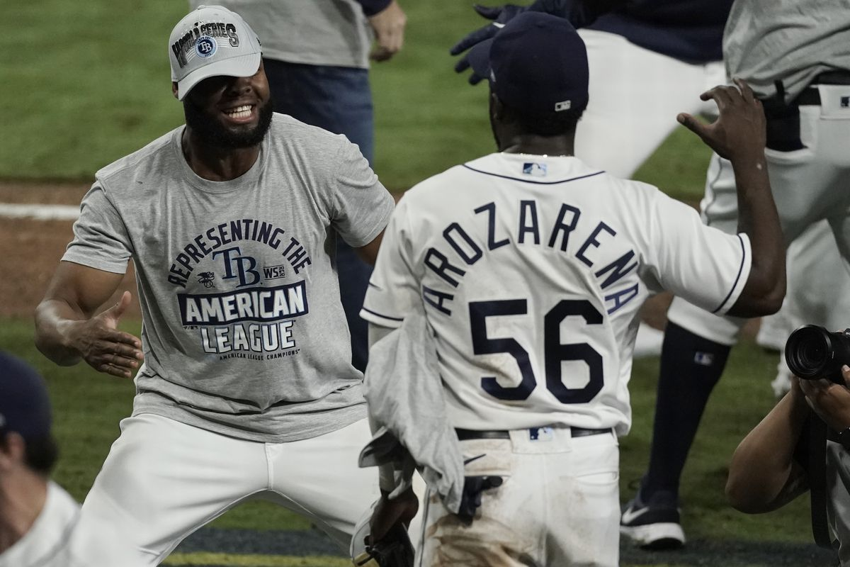 Rays players celebrate their ALCS Game 7 win over the Houston Astros.