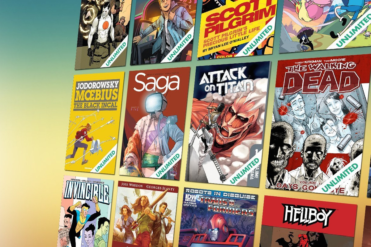 Digital comics covers against a blue and yellow gradient background