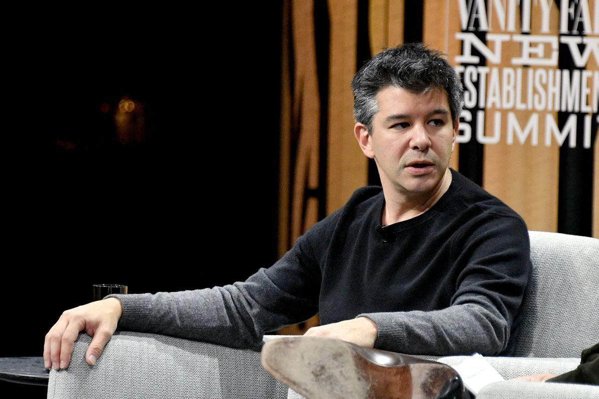 Former Uber CEO Travis Kalanick onstage at the Vanity Fair New Establishment Summit in 2016