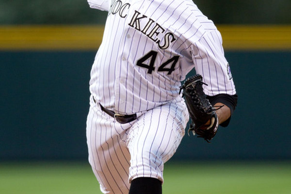 DENVER, CO - APRIL 18:  Starting pitcher Juan Nicasio #44 of the Colorado Rockies works the first inning against the San Diego Padres at Coors Field on April 18, 2012 in Denver, Colorado.  (Photo by Justin Edmonds/Getty Images)