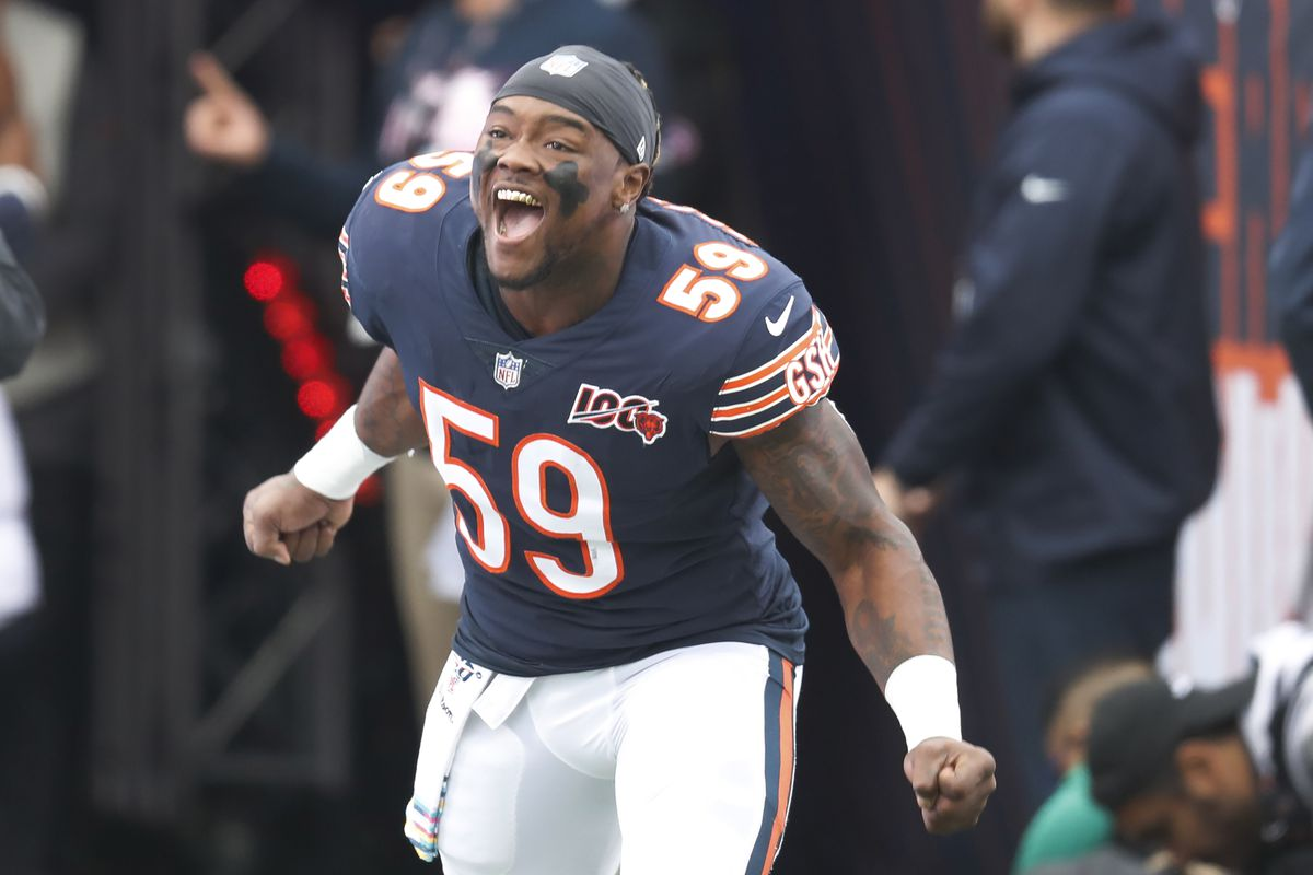 Chicago Bears inside linebacker Danny Trevathan reacts as he is introduced before an NFL football game against the New Orleans Saints in Chicago, Sunday, Oct. 20, 2019. (AP Photo/Charles Rex Arbogast) ORG XMIT: ILMC10