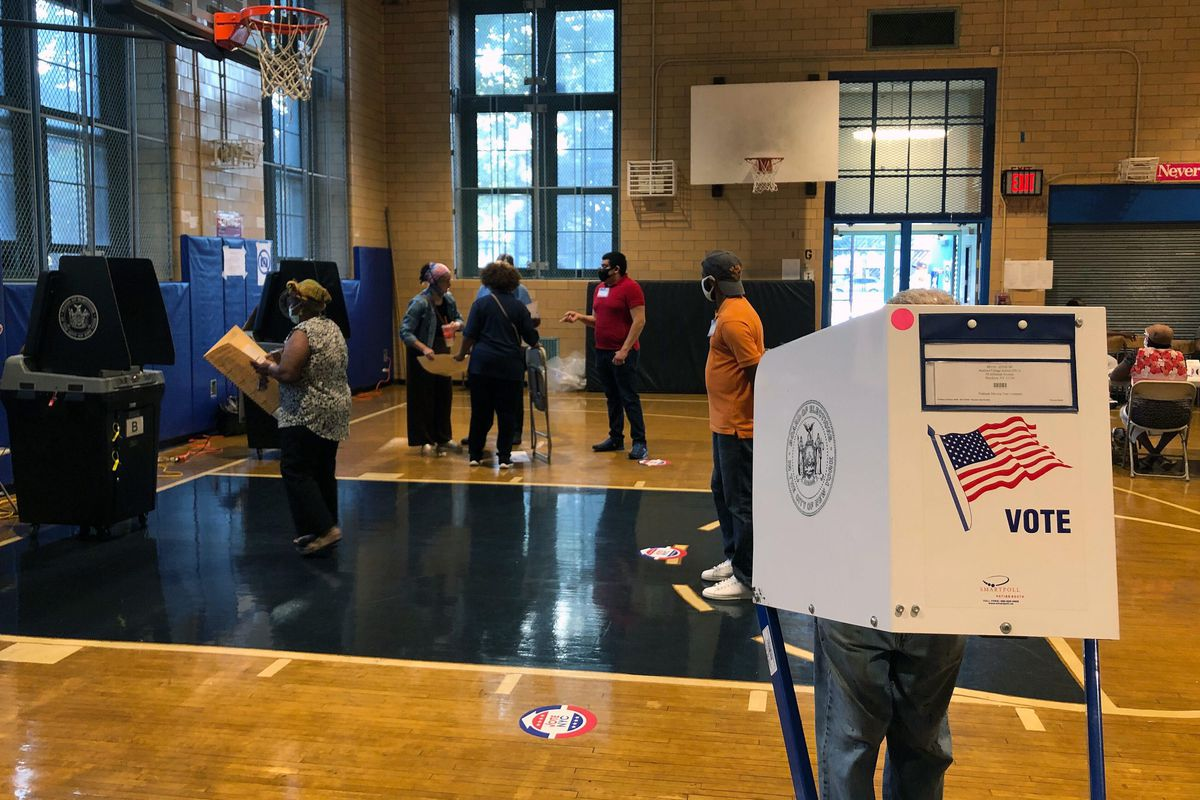 Democratic primary voters cast ballots in Bed-Stuy, Brooklyn, June 23, 2020.