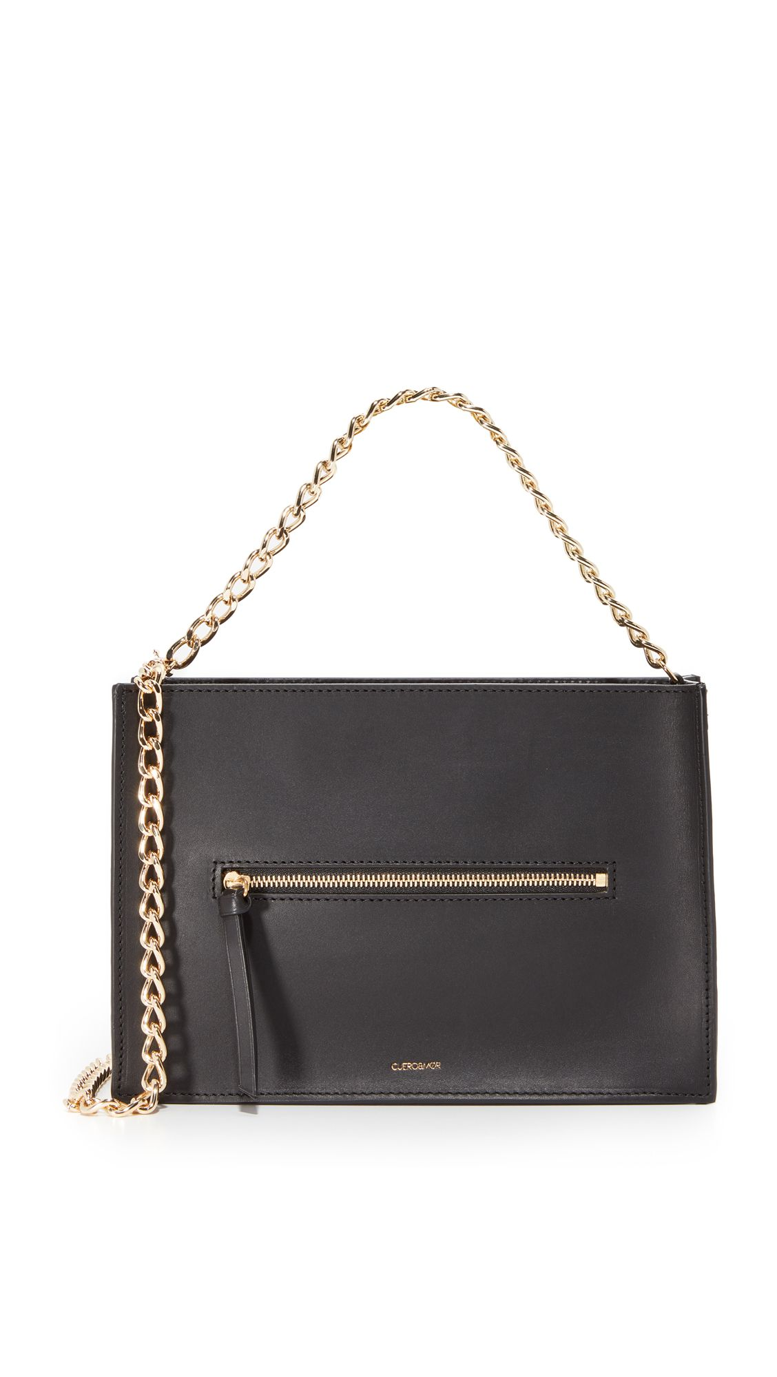A black leather bag with a gold chain