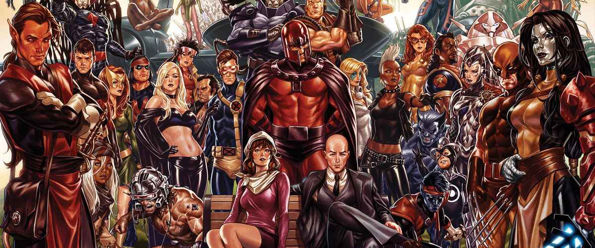 Promotional art for House of X/Powers of X, featuring dozens and dozens of X-Men characters. But the center of the image: Moira MacTaggert and Professor X sitting on a park bench, with Magneto standing behind them.