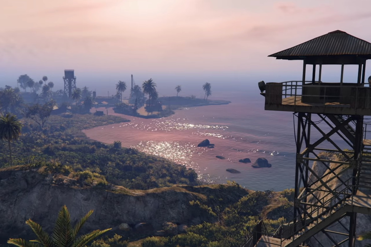 Grand Theft Auto Online - the tropical Cayo Perico island, with a guard standing in a tower so he can watch for potential criminals.