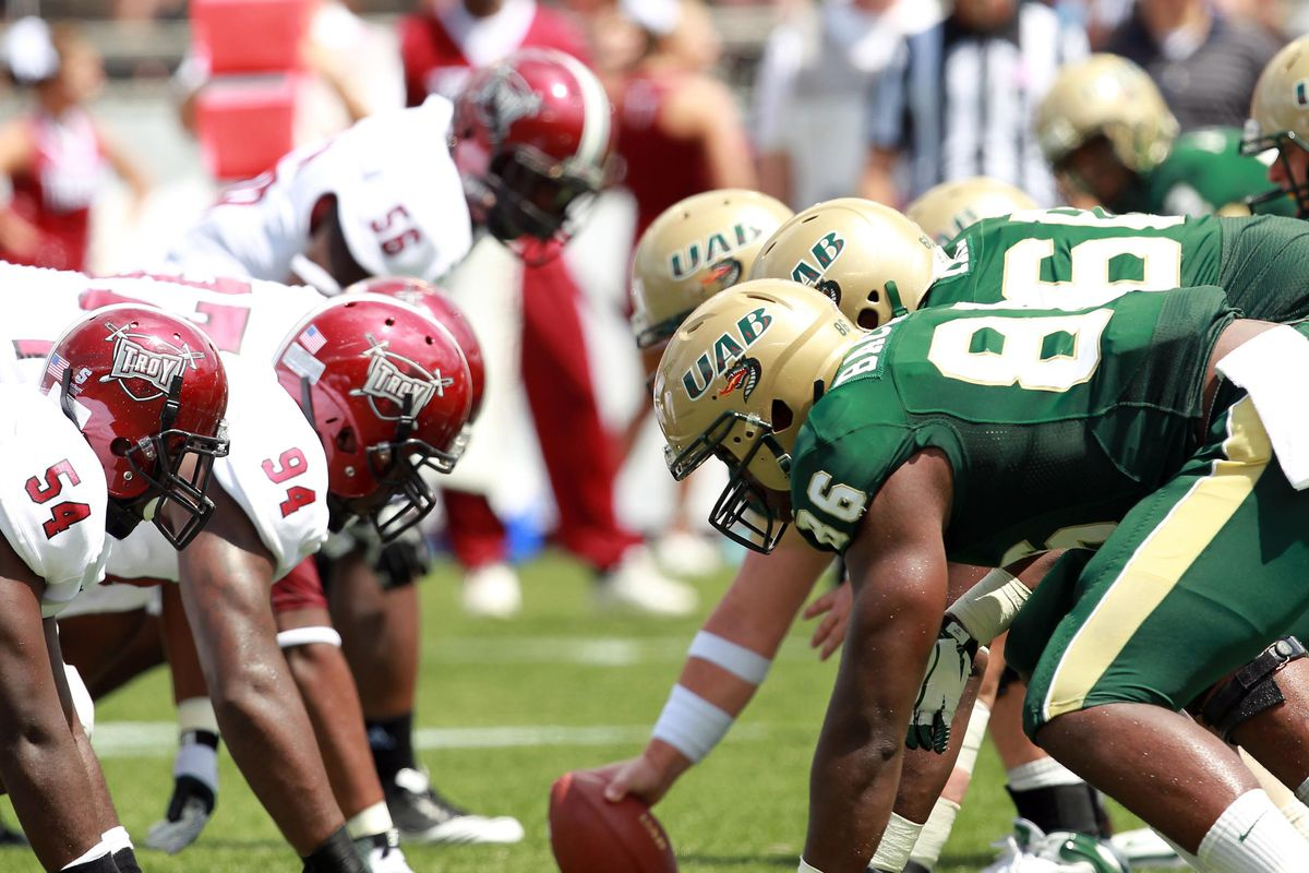 Sep 1, 2012; Birmingham, AL, USA; UAB Blazers line up against the Troy Trojans during the game at Legion Field. Mandatory Credit: Marvin Gentry-US PRESSWIRE