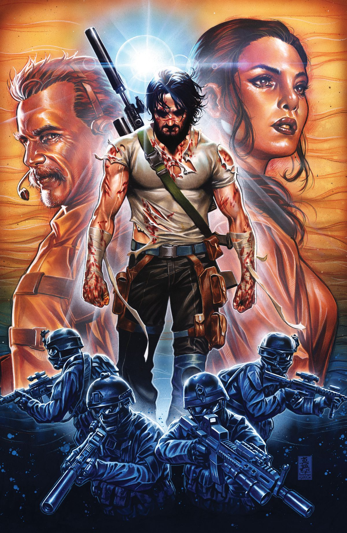 B walking like Wolverine on a cover with tons of character faces for BRZRKR