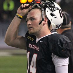 Connor Shaw follows the action on the video board.