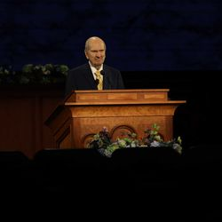 President Russell M. Nelson of The Church of Jesus Christ of Latter-day Saints speaks in the Saturday morning session of the 190th Annual General Conference at the Church Office Building on Saturday, April 4, 2020.