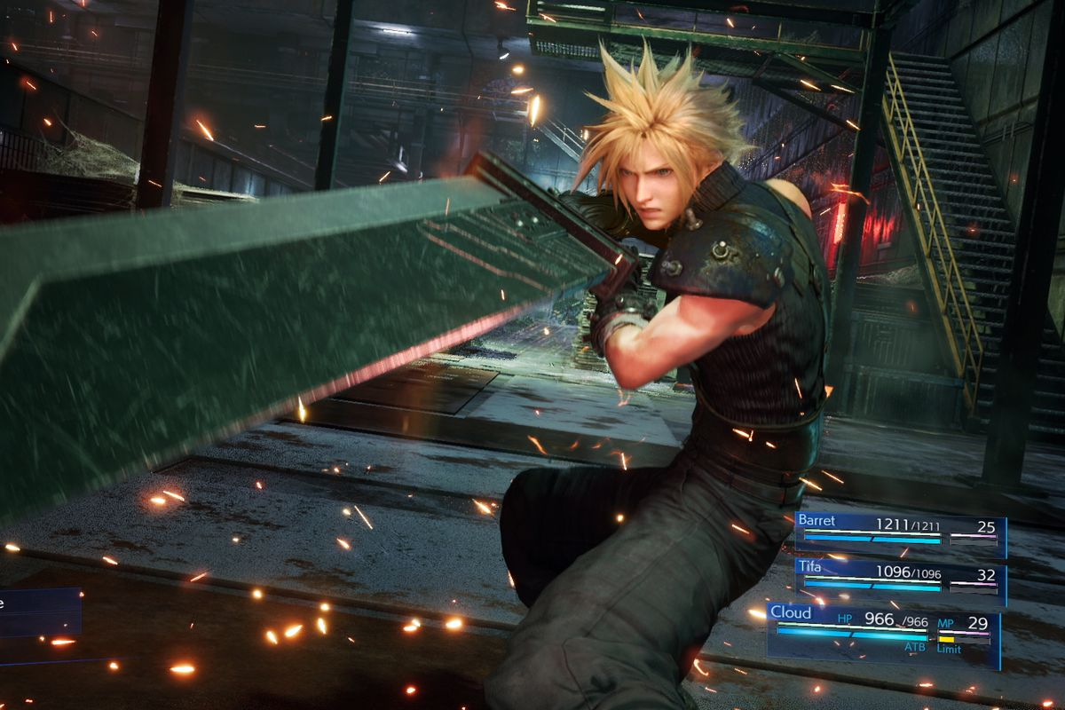 Cloud Strife holds his sword aloft in a screenshot from Final Fantasy 7 Remake