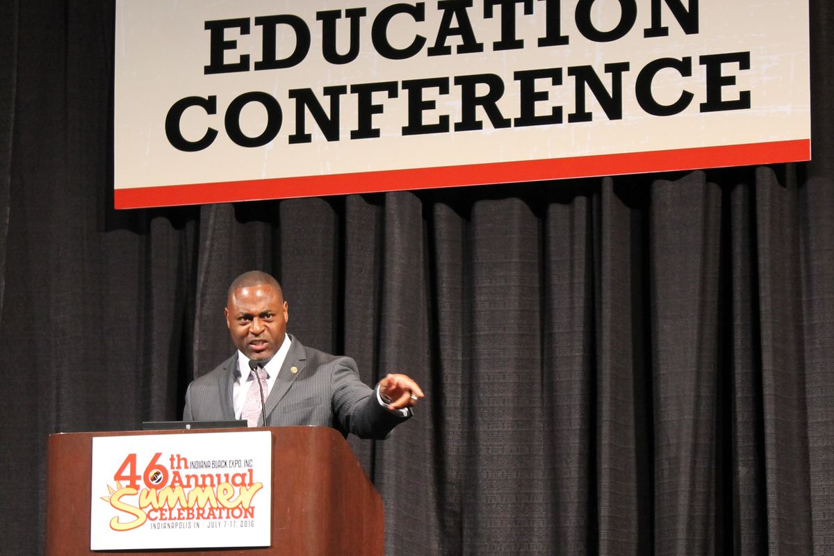 Robert Jackson, author of The No More Excuses Curriculum, speaks at the 2016 Indiana Black Expo's Education Conference.