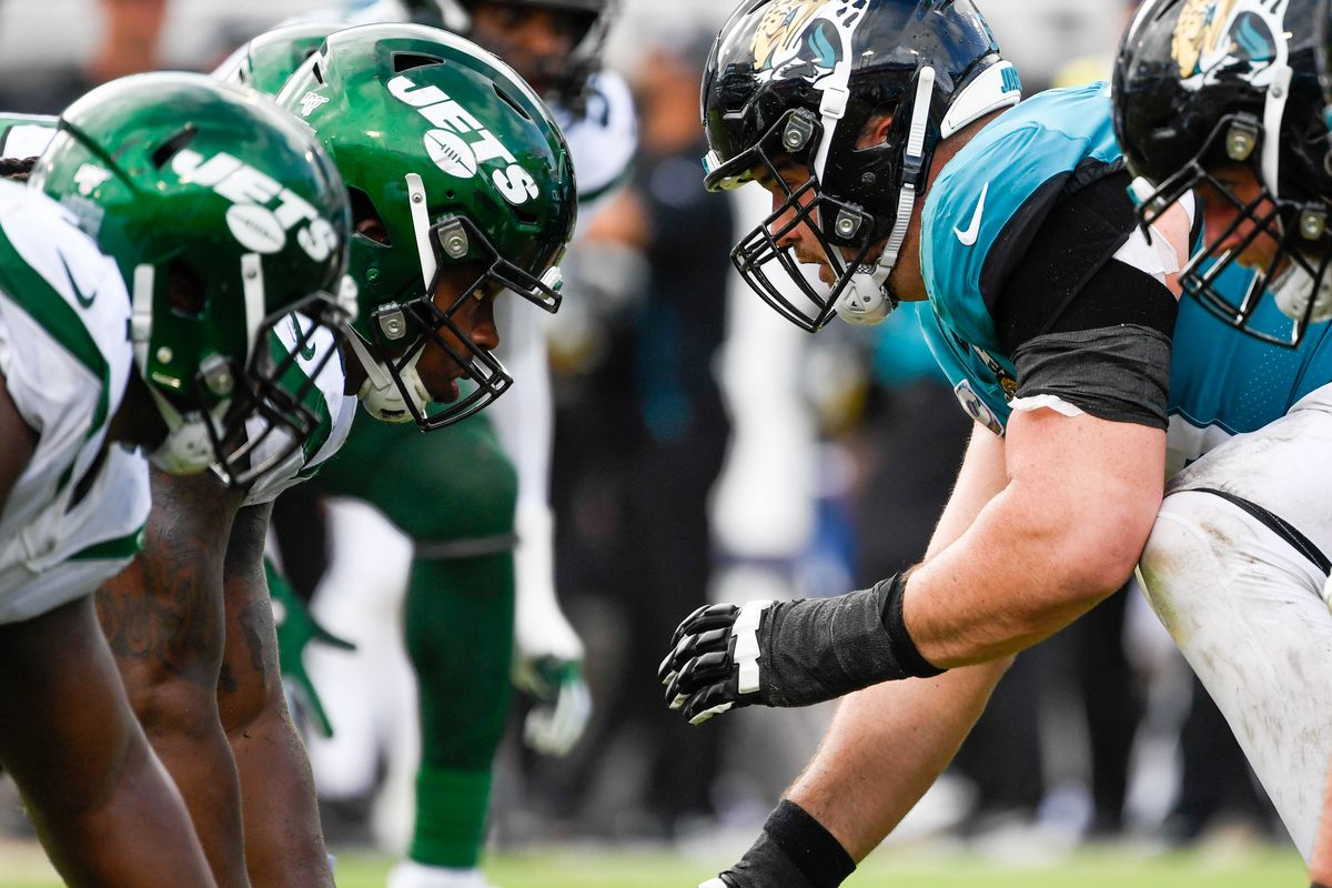 Jacksonville Jaguars center Brandon Linder (65) waits to snap the ball during the fourth quarter against the New York Jets at TIAA Bank Field.