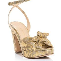 """<a href=""""http://www.matchesfashion.com/product/157844"""">Mansfield metallic sandals by Charlotte Olympia</a>, $204 (were $854)"""