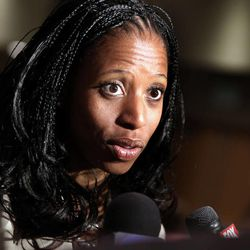 Congressional hopeful Mia Love speaks to reporters at a lunch at Salt Lake Community College's Miller Free Enterprise Conference Center in Sandy on Wednesday, Nov. 13, 2013.