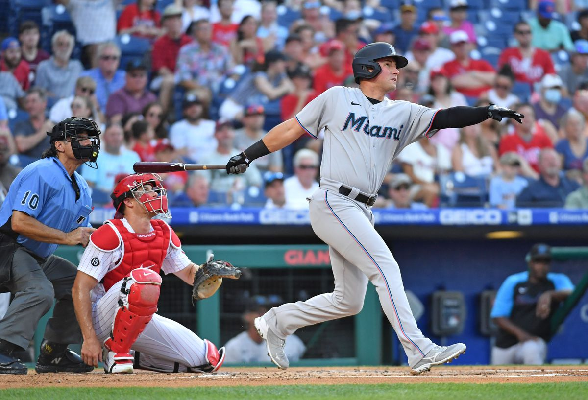 Miami Marlins infielder Joe Panik (12) hits a home run against the Philadelphia Phillies during the second inning at Citizens Bank Park.