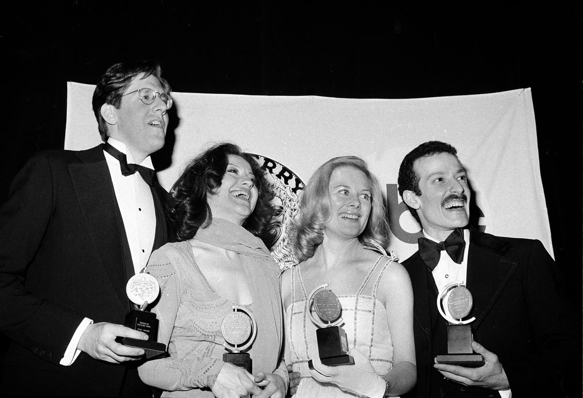 Tony Award winners Edward Herrmann (from left), Carole Bishop, Shirley Knight and Sammy Williams, pose with their awards at the 30th Annual Tony Awards in New York in 1976.
