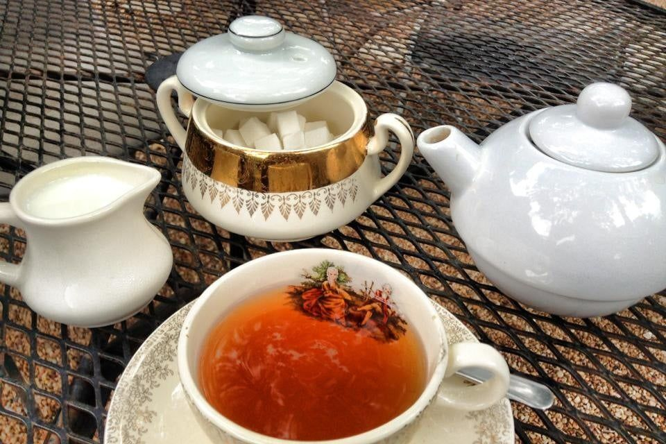 The tea setup at Full English