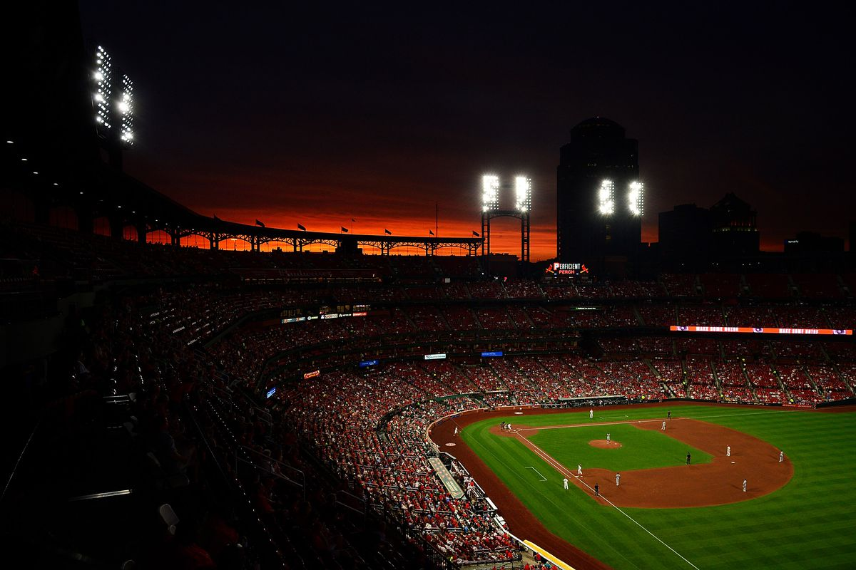 A general view of Busch Stadium as the sun sets during the fourth inning of a game between the St. Louis Cardinals and the Milwaukee Brewers.