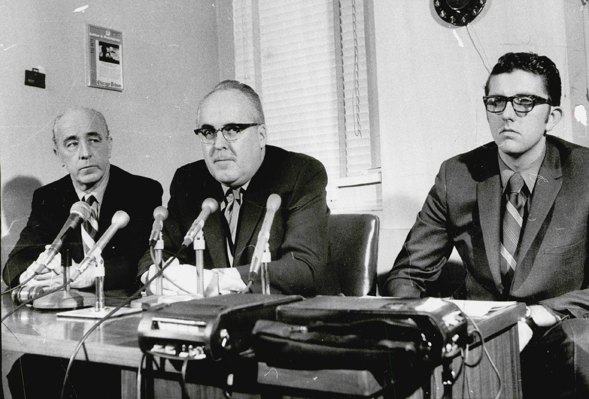 William Recktenwald (right) pictured at a Better Government Association press conference in the late 1960s.