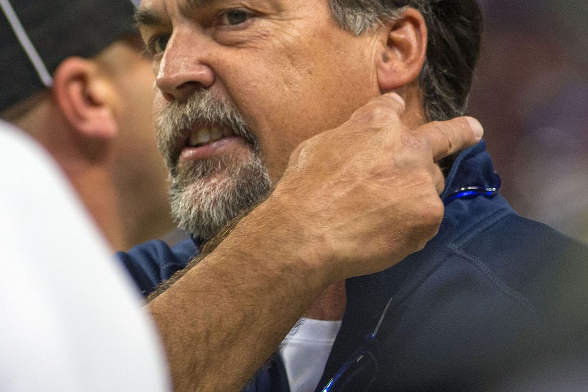 Aug 18, 2012; St. Louis, MO, USA; St. Louis Rams head coach Jeff Fisher talks to the line judge in the game against the Kansas City Chiefs during the first half at the Edward Jones Dome. Mandatory Credit: Photo by Scott Rovak-US PRESSWIRE