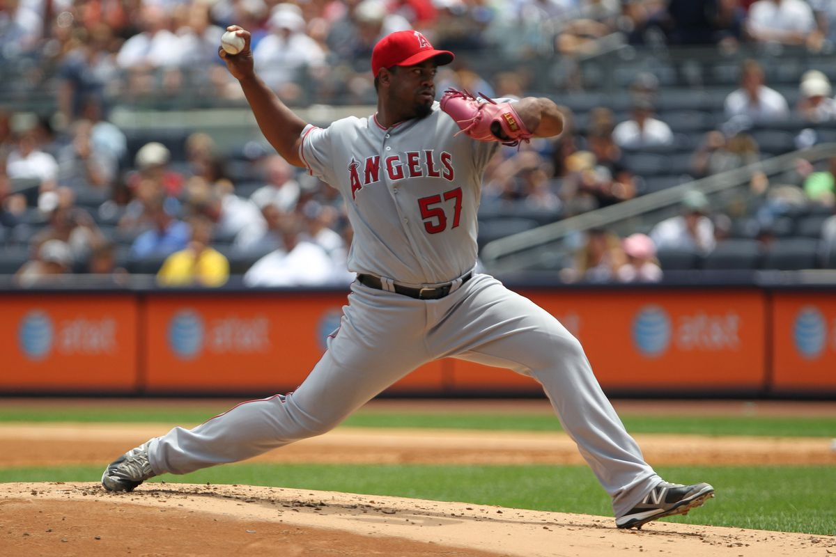 July 14, 2012; Bronx, NY, USA;   Los Angeles Angels starting pitcher Jerome Williams (57) pitches during the first inning against the New York Yankees at Yankee Stadium.  Mandatory Credit: Anthony Gruppuso-US PRESSWIRE