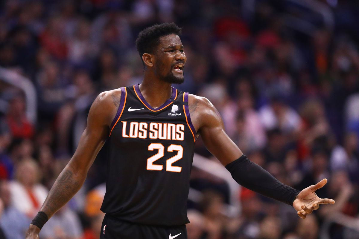 Phoenix Suns center Deandre Ayton reacts against the Toronto Raptors in the second half at Talking Stick Resort Arena.
