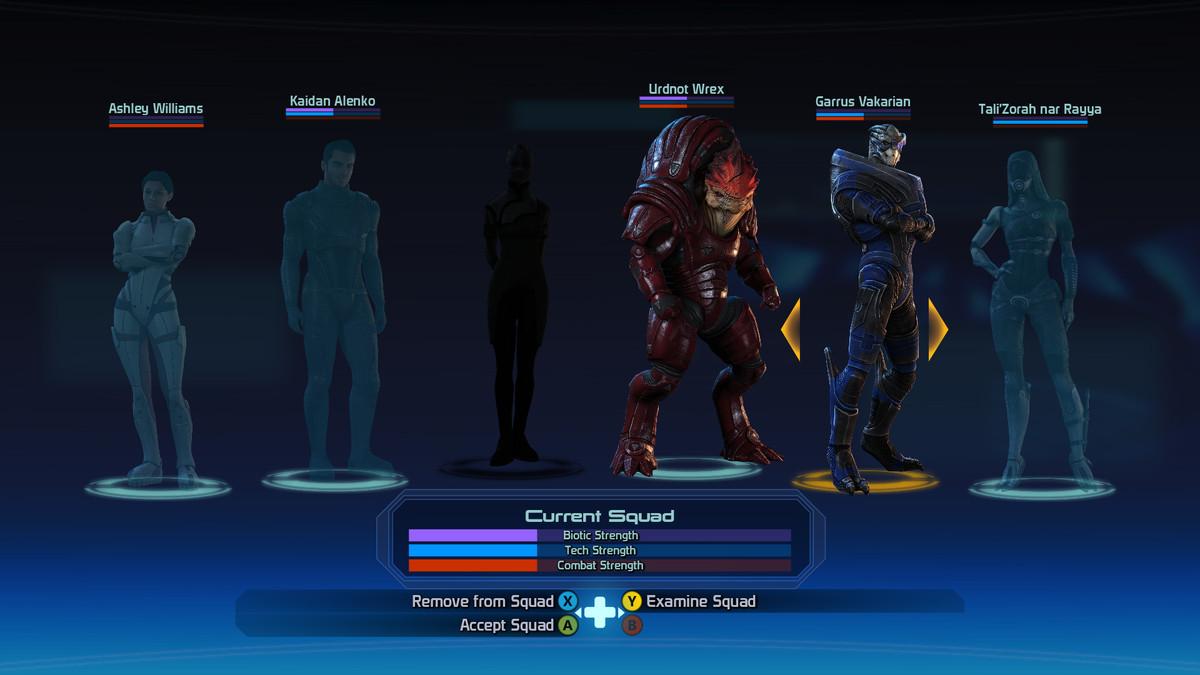 Mass Effect team selection screen