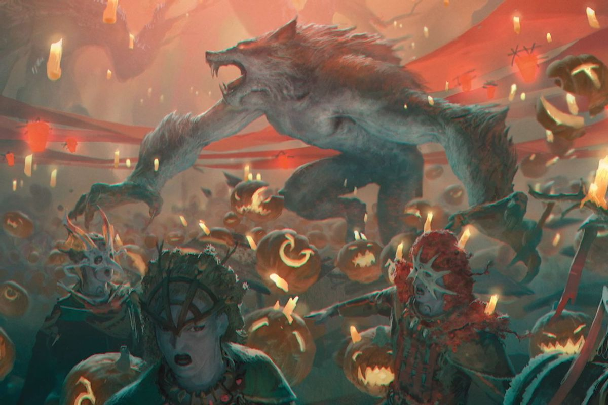 A werewolf storms into the Harvesttide festival, teeth bared.