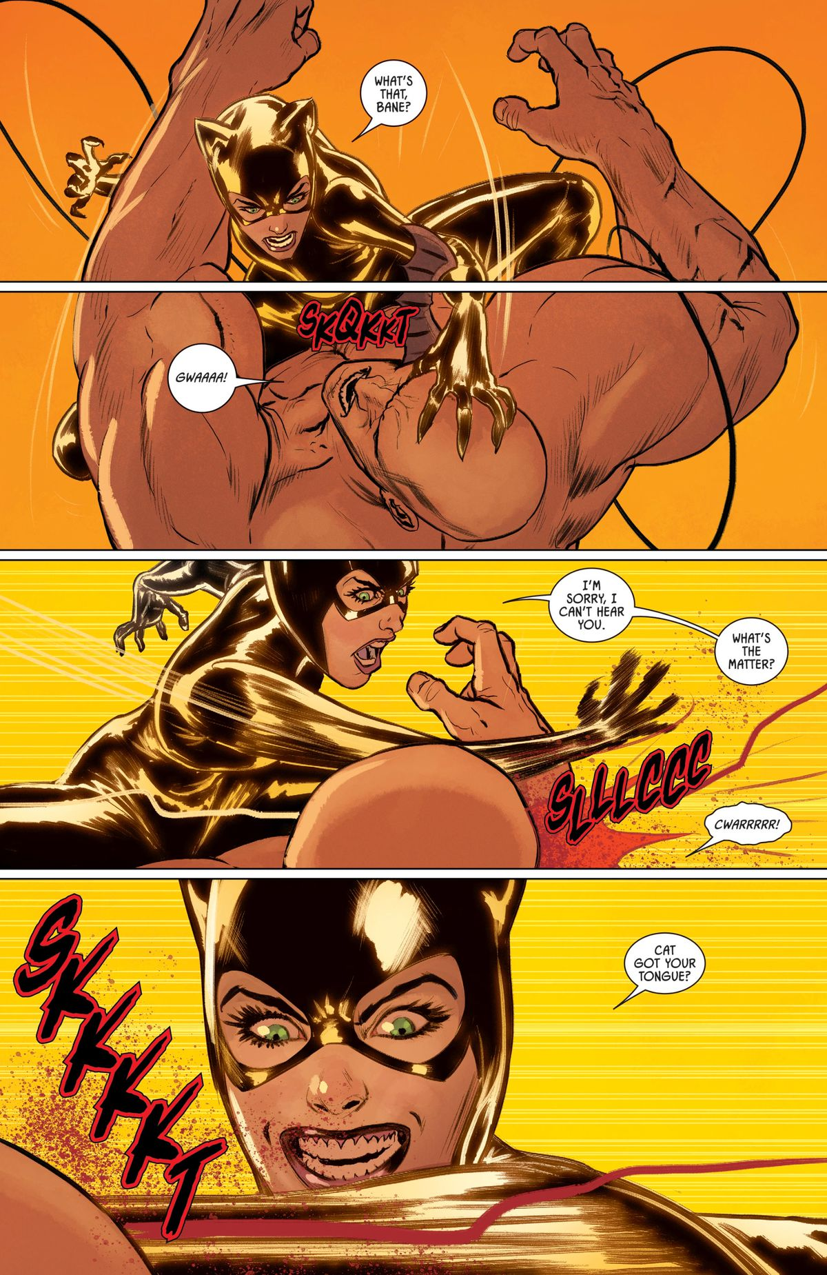 Catwoman taunts Bbane while mercilessly scratching his face with her claws in Batman #82, DC Comics (2019).