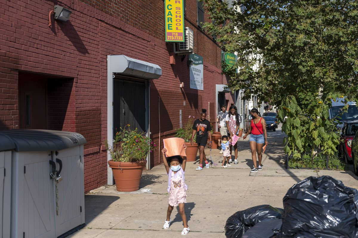Children depart day care in Crown Heights, Brooklyn.