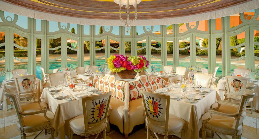 Restaurant interior overlooking pool