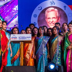 Students sing the Indian National Anthem during an award ceremony in Pune, Maharashtra, India on August 14, 2017.