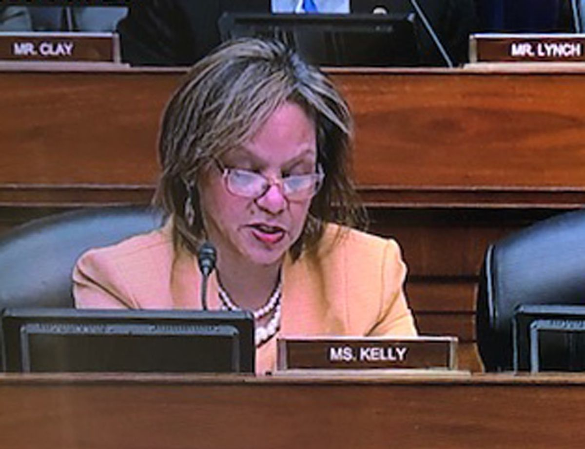 U.S. Rep. Robin Kelly, D-Ill., questioned former Trump attorney Michael Cohen at a committee meeting Wednesday. | CNN