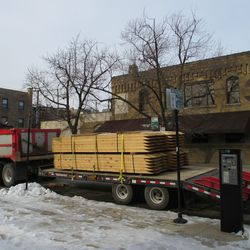 Wed 1/6: wooden forms waiting along Waveland, these shore up the excavations -