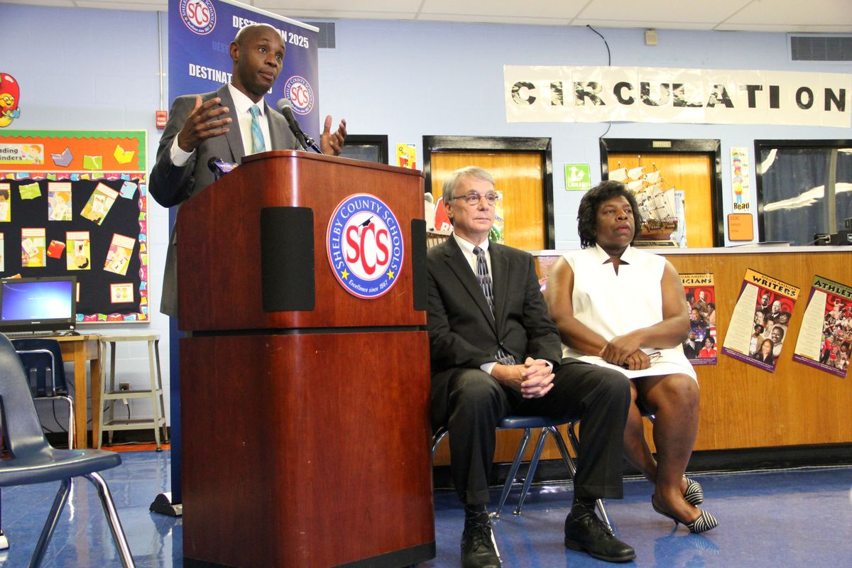 Shelby County Schools superintendent Dorsey Hopson in 2015 discusses the district's school funding lawsuit against the state of Tennessee as former board members Chris Caldwell and Teresa Jones offer their support.