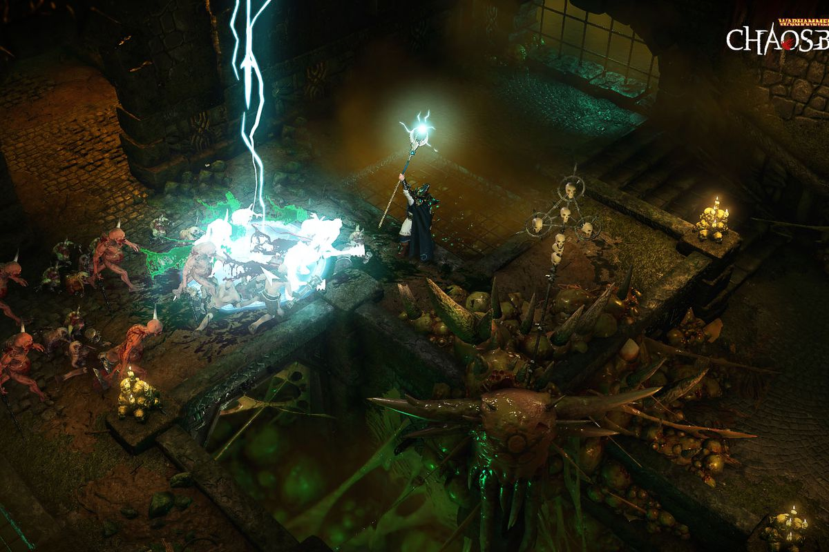 a lightning bolt attack strikes the playing area (seen isometrically from above) in Warhammer Chaosbane