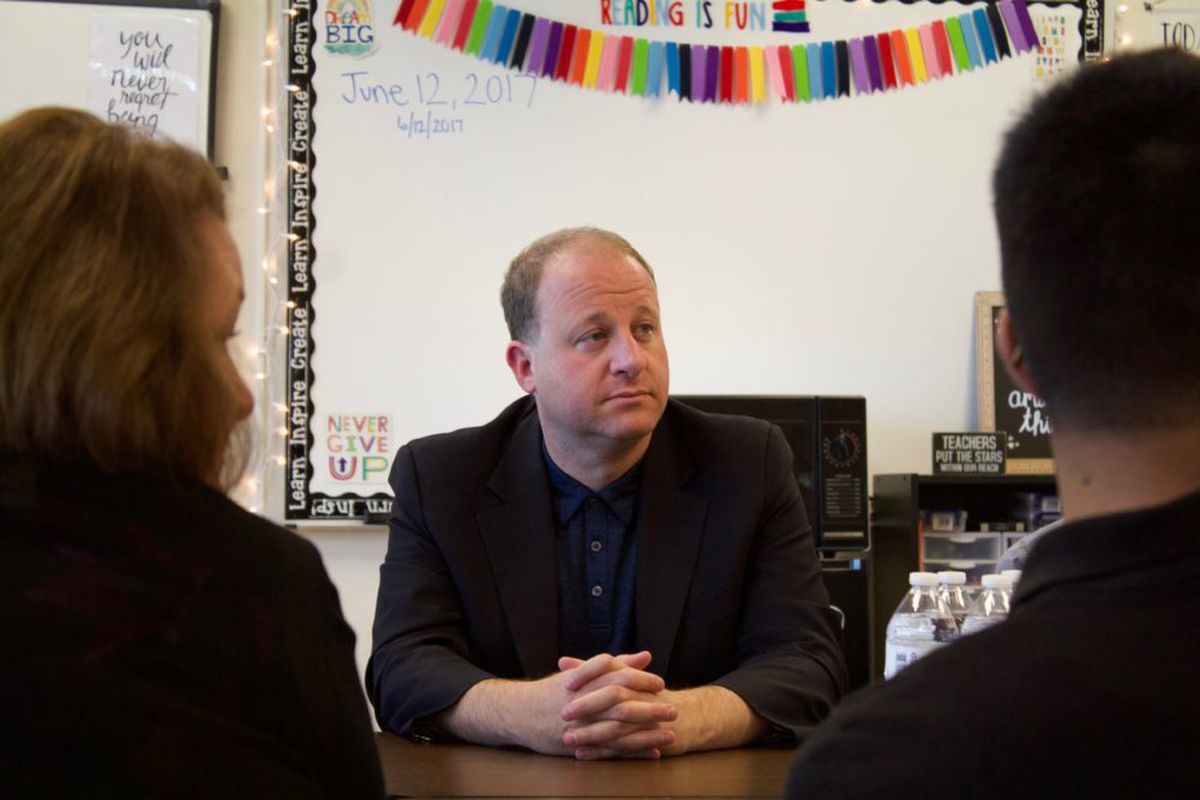 Congressman Jared Polis meets with teachers, parents and students at the Academy of Urban Learning in Denver after announcing his gubernatorial campaign. (Photo by Nic Garcia/Chalkbeat)