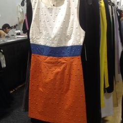 Colorblocked dress (sample), $59