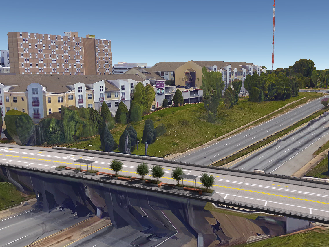 Another rendering showing the park above the interstate ramp