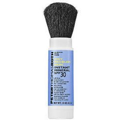 """If you battle oily skin, try the Peter Thomas Roth <a href=""""http://www.sephora.com/oily-problem-skin-instant-mineral-powder-spf-30-P235909"""">instant mineral powder</a>, ($30). The transparent, oil-free powder comes with a retractable brush applicator, so i"""