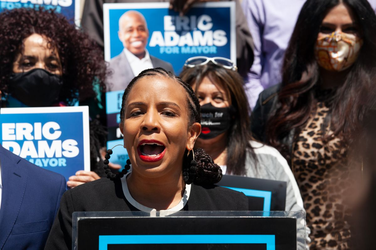 City Councilmember Laurie Cumbo speaks a mayoral campaign event in support of Brooklyn Borough President Eric Adams, May 11, 2021.