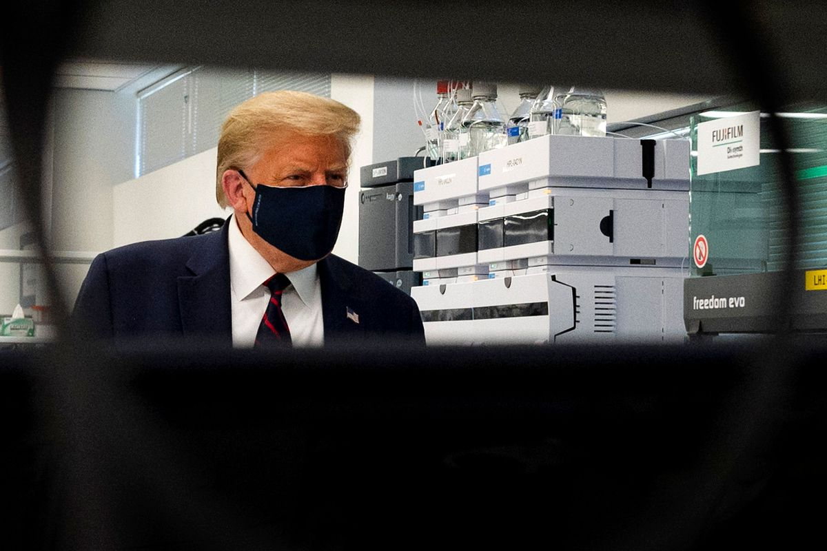President Trump wearing a face mask.