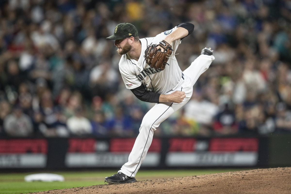 Reliever Mike Wright of the Seattle Mariners delivers a pitch during a game against the Minnesota Twins at T-Mobile Park on May 18, 2019 in Seattle, Washington. The Twins won 18-4.