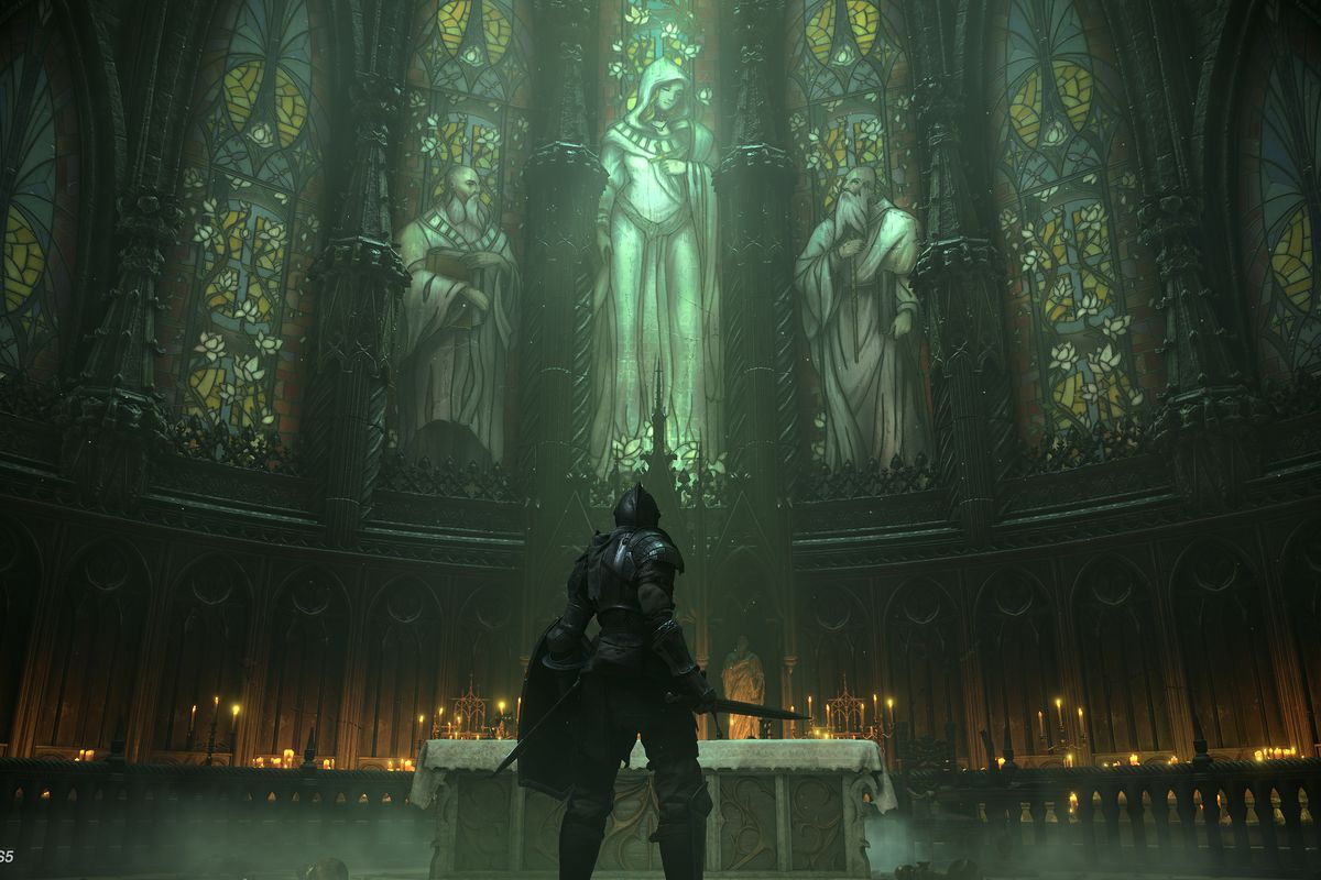 A knight stands before a church altar and stained glass windows in a screenshot from Demon's Souls