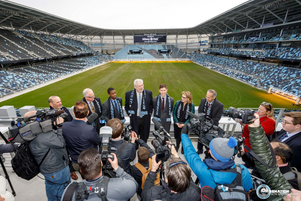 March 18, 2019 - Saint Paul, Minnesota, United States - Major League Soccer Commissioner Don Garber, Minnesota Governor Tim Walz, Saint Paul Mayor Melvin Carter, MNUFC Managing Partner Bill McGuire, Minneapolis Mayor Jacob Frey, Minnesota Lieutenant Governor Peggy Flanagan and Allianz Life CEO Walter White take questions from the media during the Allianz Field Scarf Raising Ceremony at Allianz Field.   (Photo by Seth Steffenhagen/Steffenhagen Photography)
