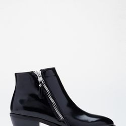 """Zippered Faux Leather Booties, <a href=""""http://www.forever21.com/Product/Product.aspx?BR=f21&Category=shoes&ProductID=2000079609&VariantID="""">$37.90</a>"""