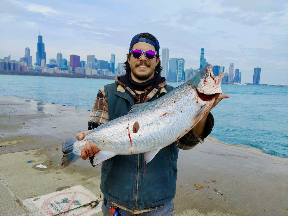 Quinn Wunar with a memorable catch on the Chicago lakefront. Provided photo