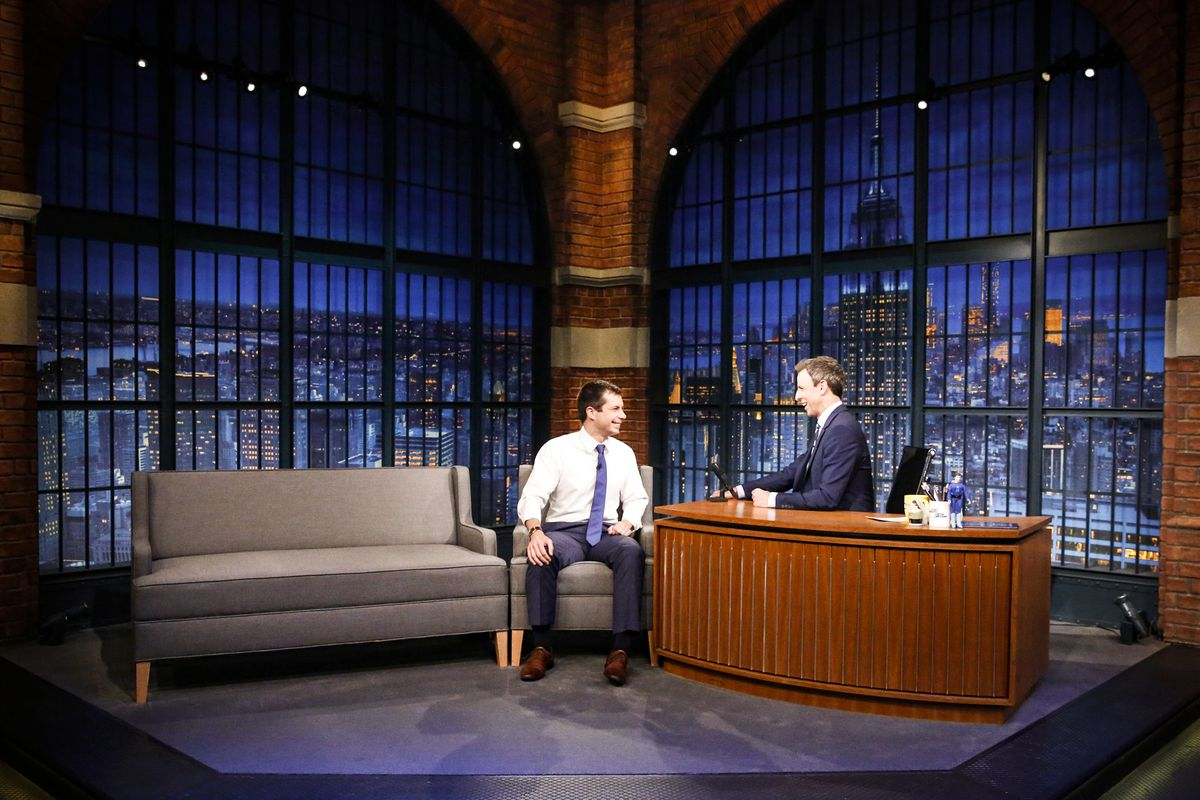 Mayor Pete Buttigieg during an interview with host Seth Meyers on June 22, 2017.